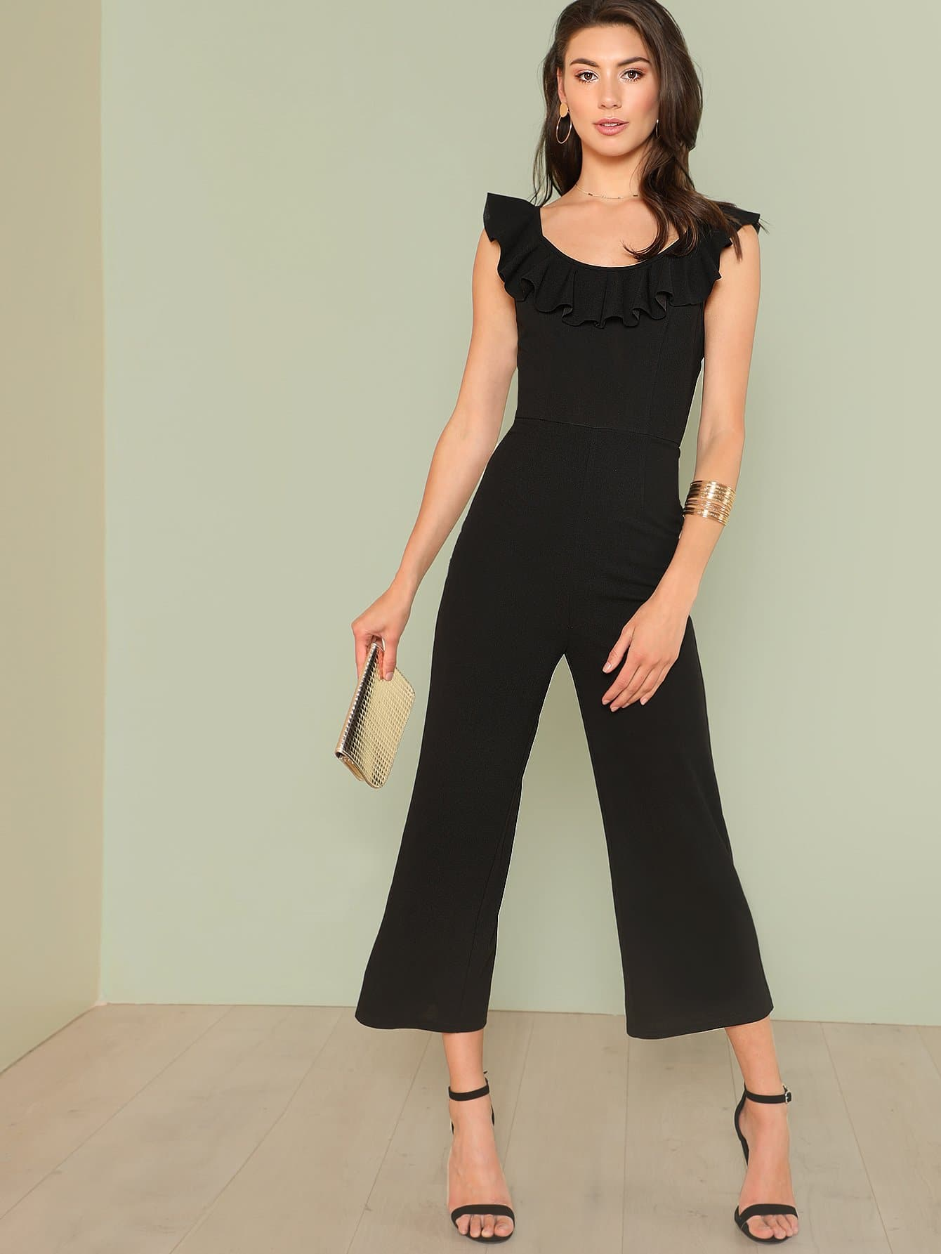 Ruffle Trim Scoop Neck Wide Leg Jumpsuit choker neck embroidered ruffle trim jumpsuit