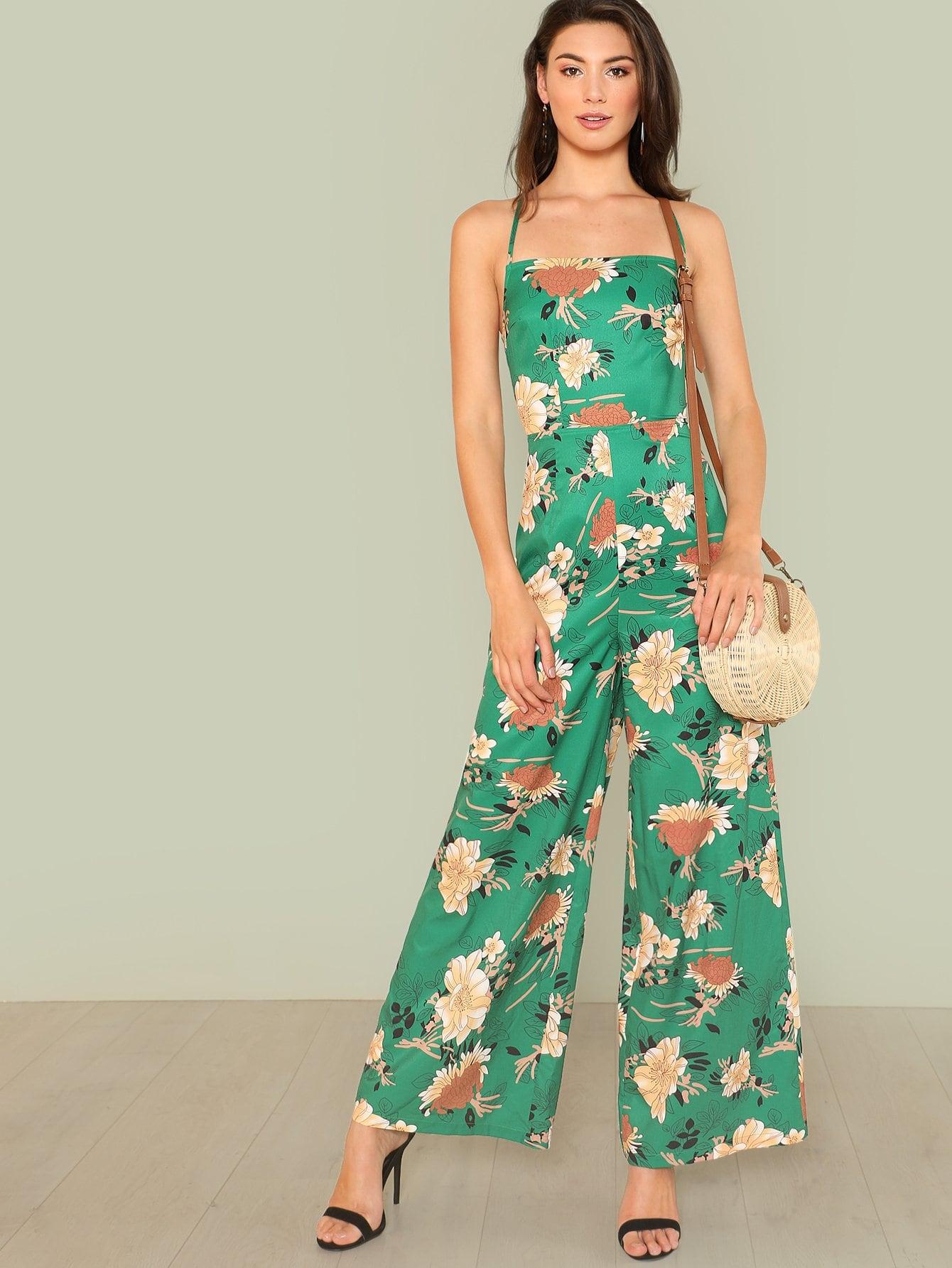 Flower Print Wide Leg Cami Jumpsuit print halter wide leg jumpsuit