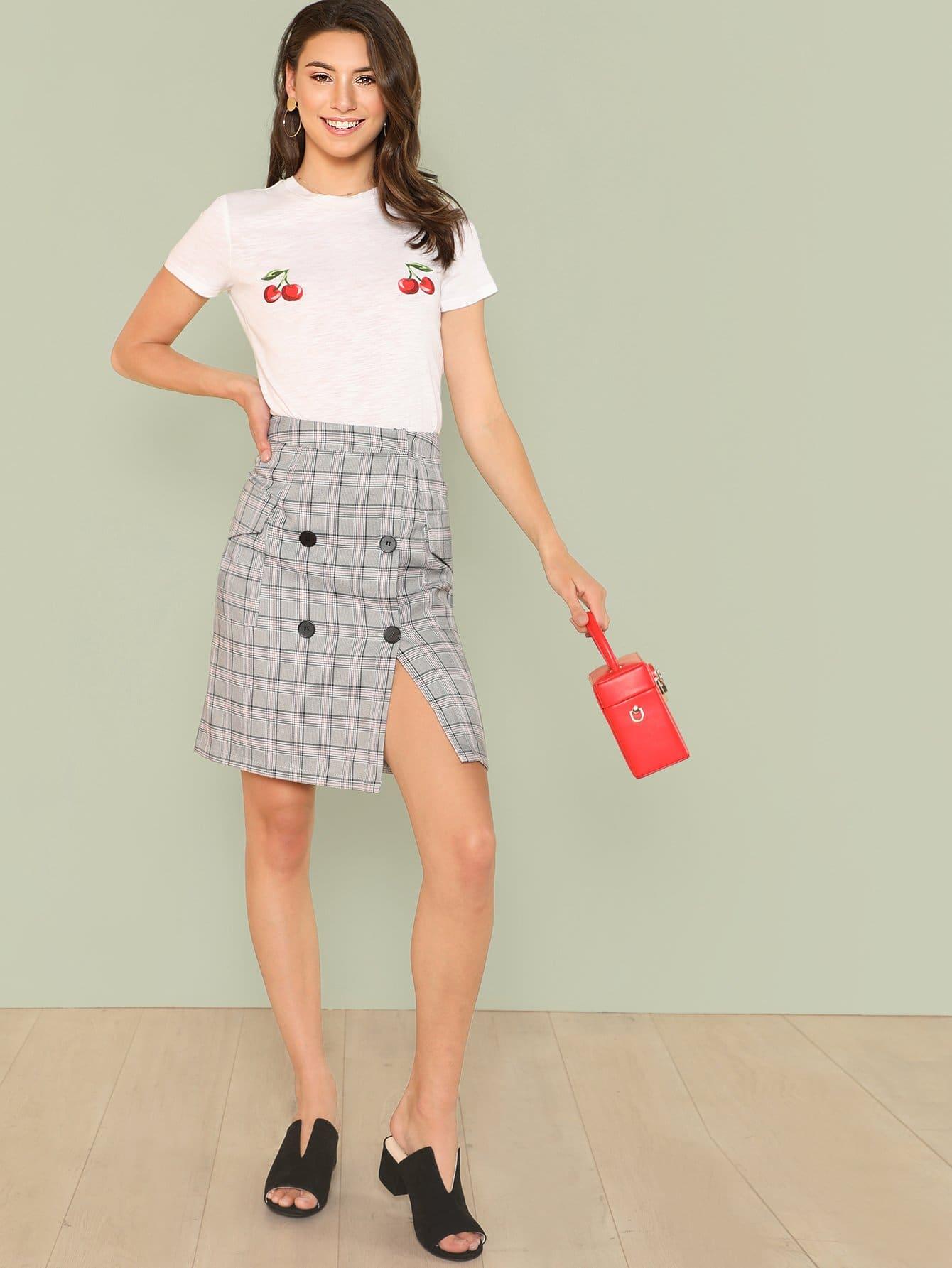 Button Embellished Pocket Front Plaid Skirt button embellished fit