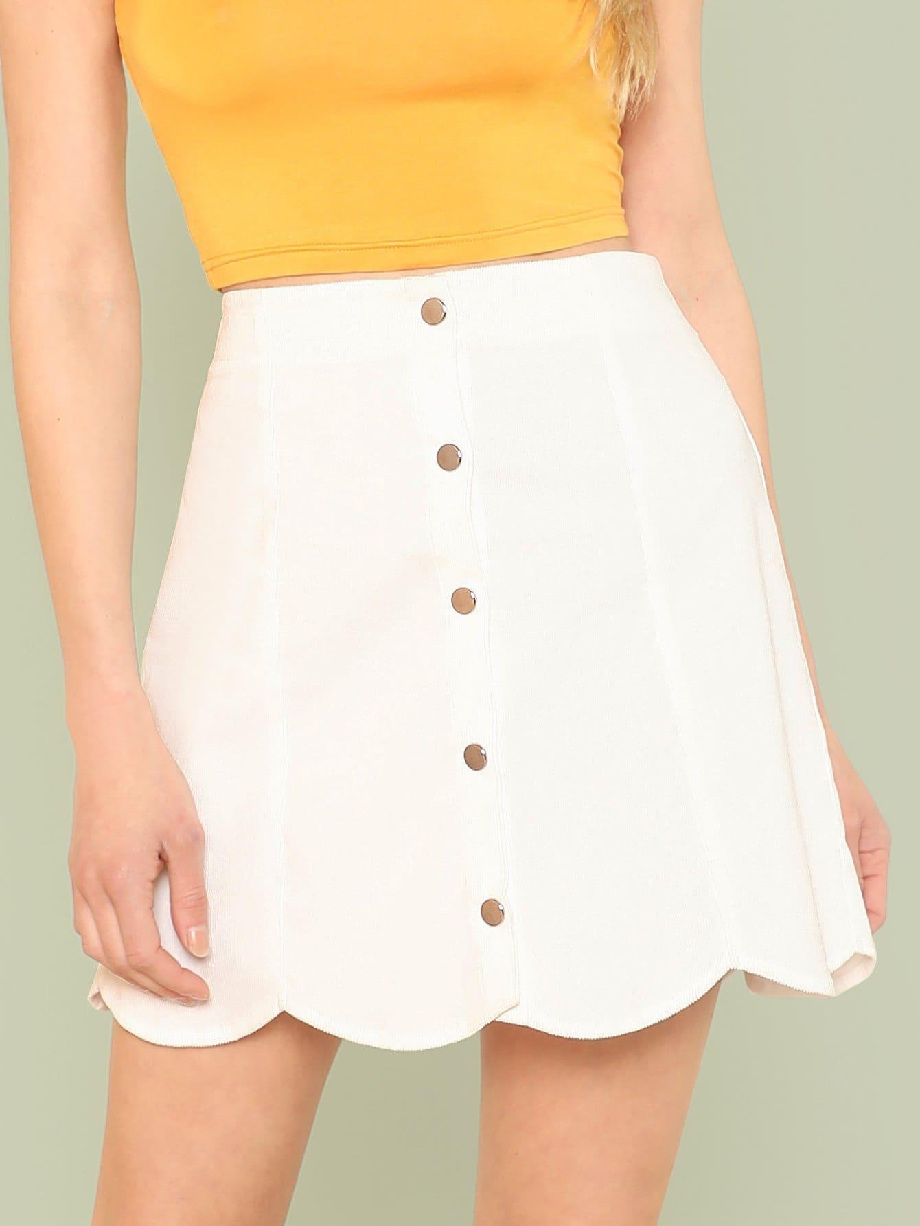 Button Detail Scallop Trim Skirt gold button detail bodycon skirt
