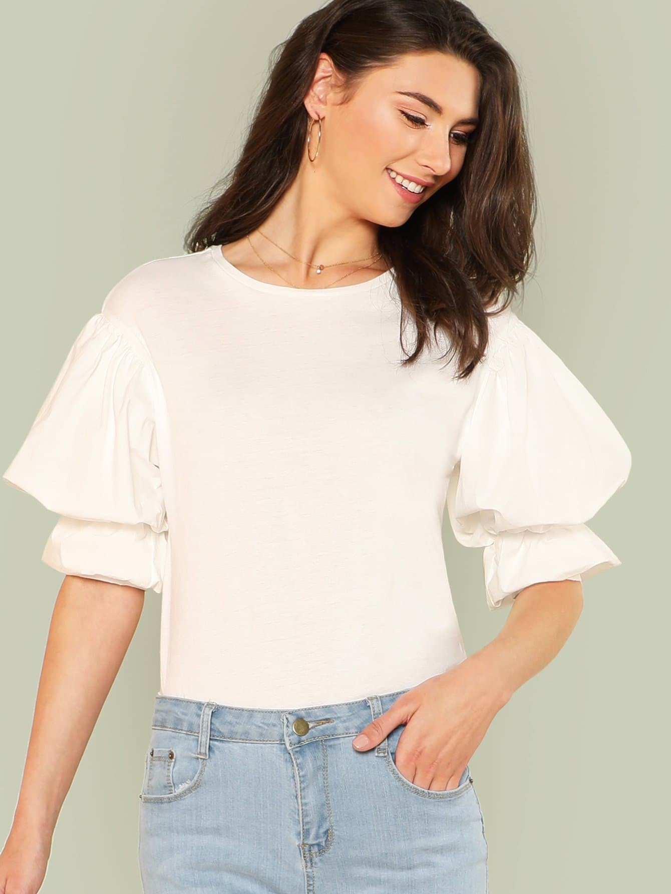 цена Exaggerated Lantern Sleeve Solid Top