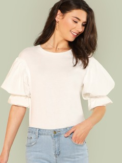 Exaggerated Lantern Sleeve Solid Top