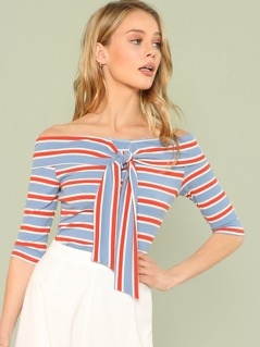 Raglan Sleeve Striped Ripped Tee