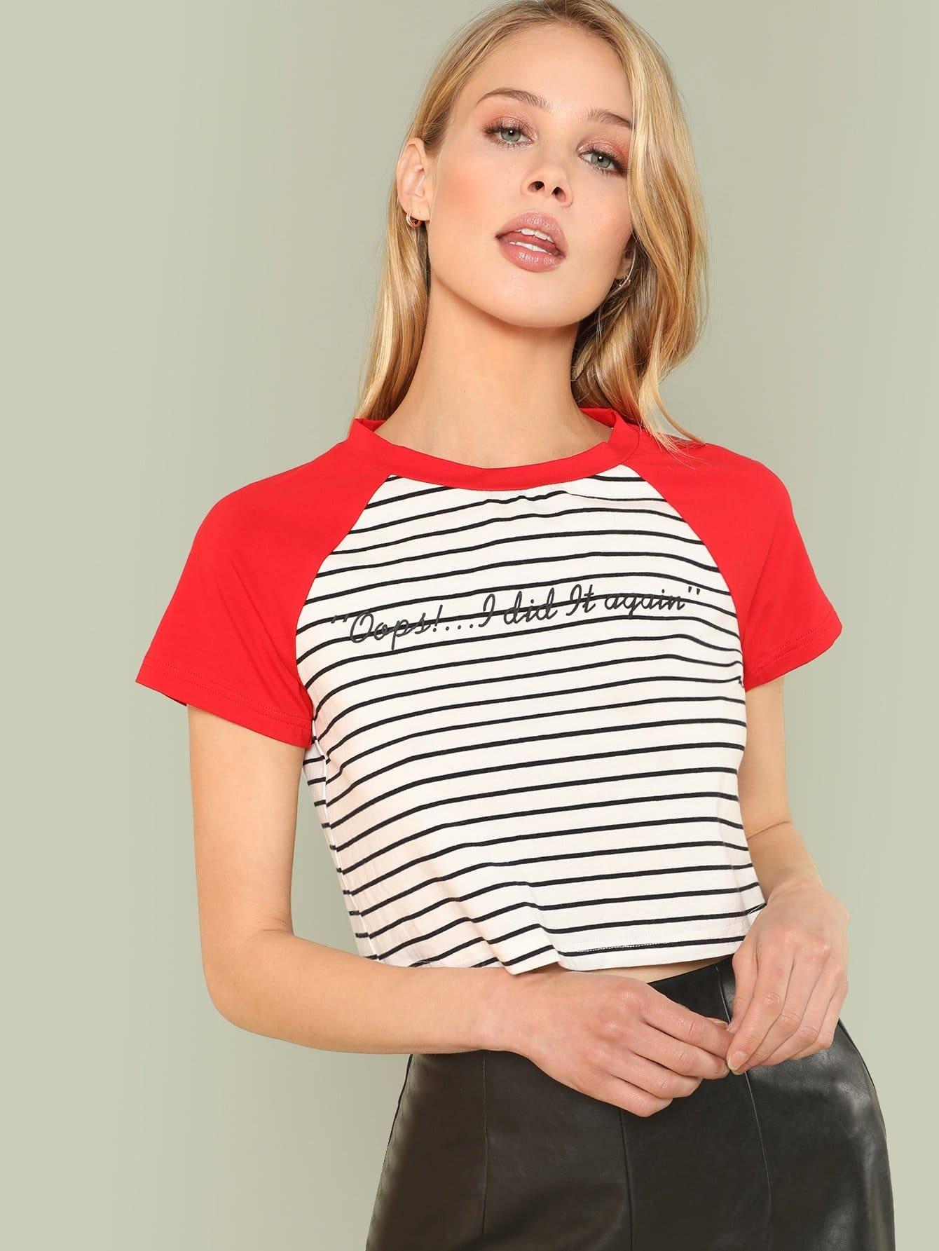 Contrast Raglan Sleeve Striped Tee contrast striped trim camo print tee
