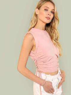 Rolled Armhole Shirred Drawstring Side Top