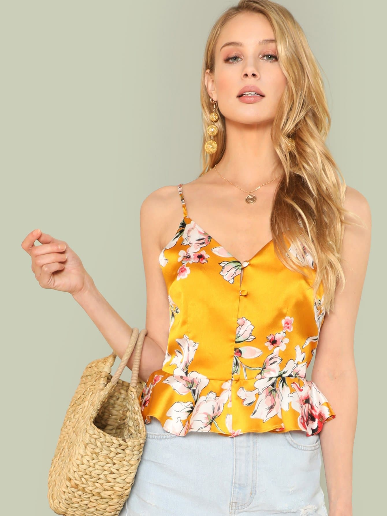 Button Detail Ruffle Hem Floral Cami Top