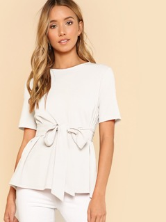 Self Belt Button Keyhole Peplum Top