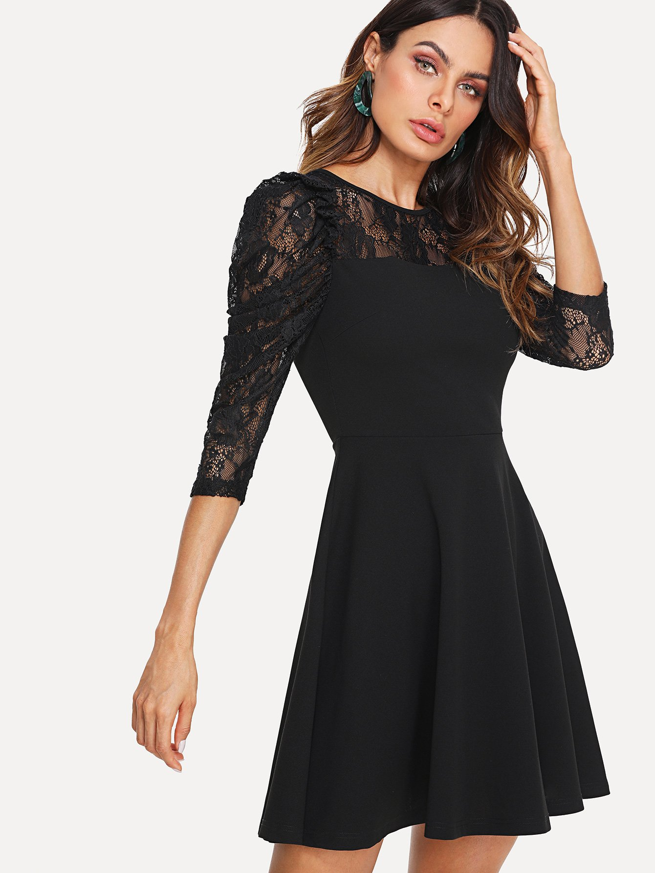 Lace Yoke Puff Sleeve Fit & Flare Dress floral print puff sleeve fit