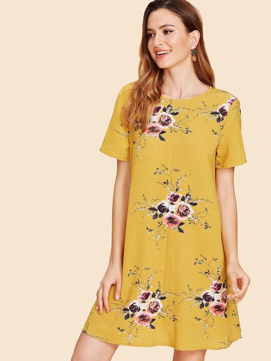 Flower Print Tunic Dress by Shein