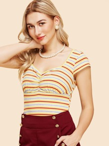 Mixed Striped Ribbed Knit Tee