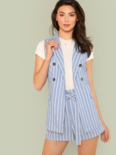 Double Breasted Sleeveless Pinstripe Blazer
