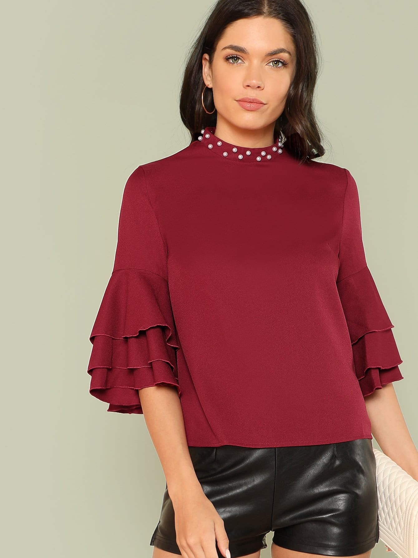Pearl Detail Layered Flounce Sleeve Top pearl beading layered sleeve top