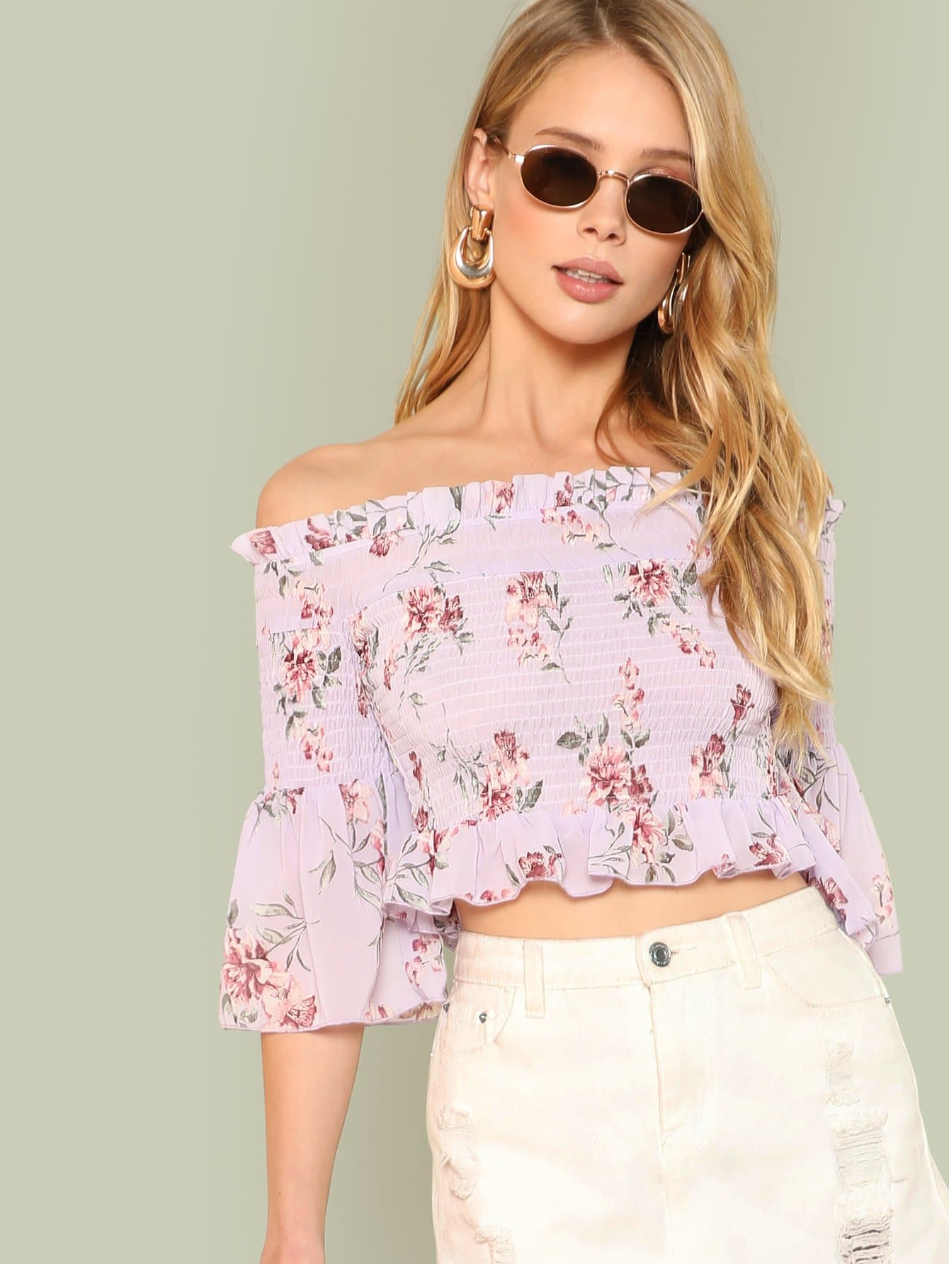 Ruffle Trim Shirred Bardot Crop Top flower print shirred bardot top