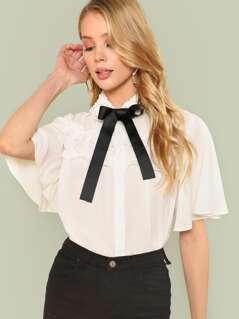 Tie Neck Ruffle Trim Shirt