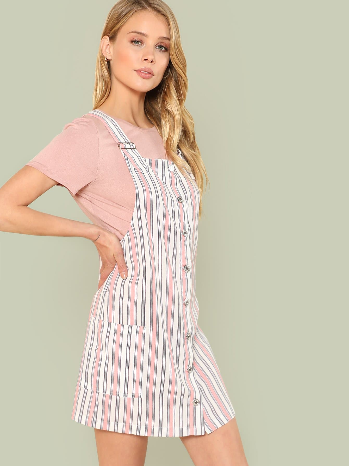 все цены на Button Up Pocket Side Striped Pinafore Dress