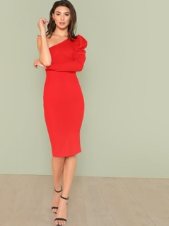 One Shoulder Puff Sleeve Solid Pencil Dress