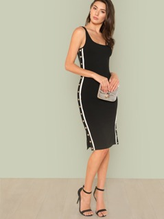Snap Button And Striped Side Fitted Dress