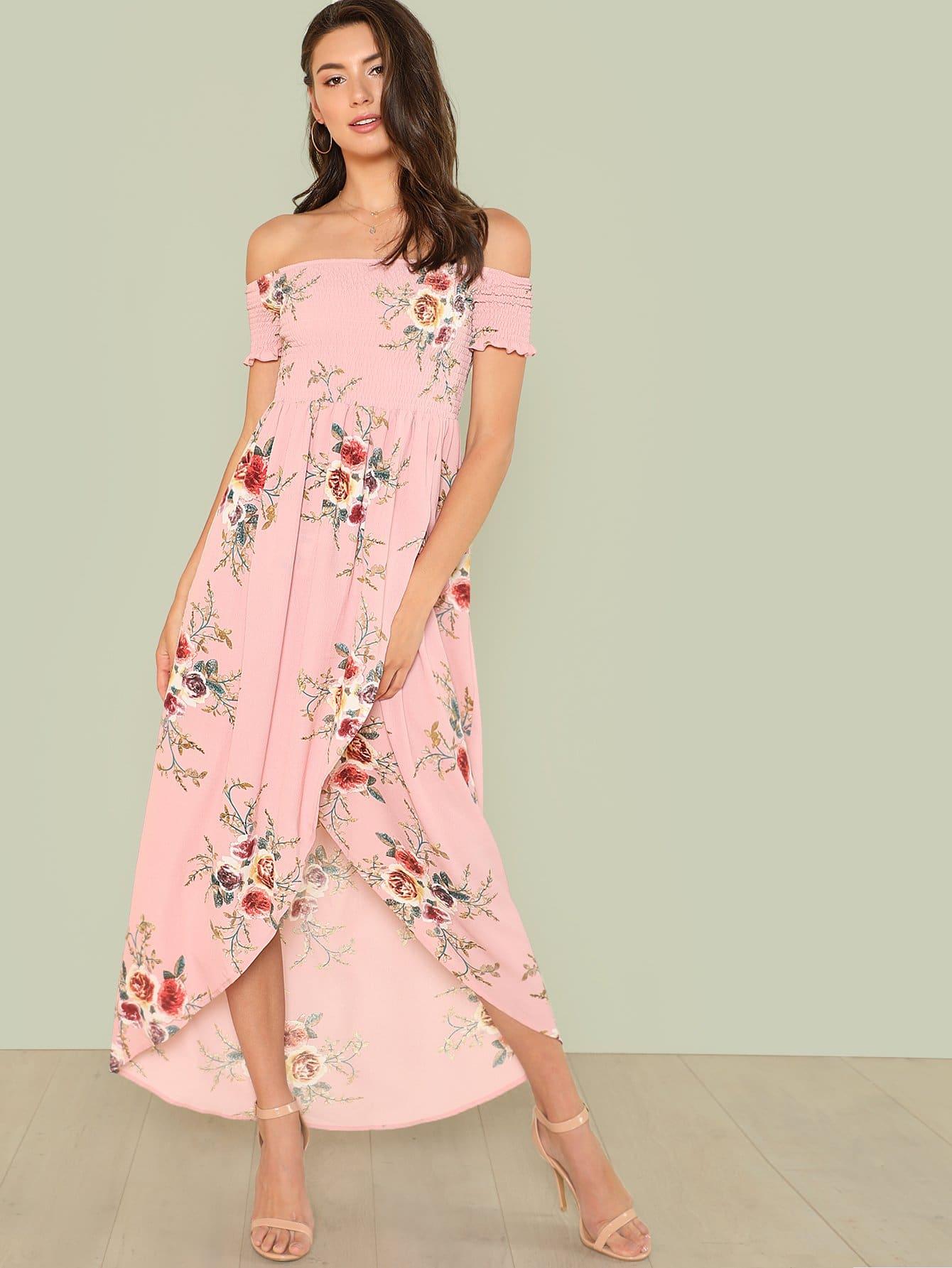 Купить Цветочное платье с открытыми плечами, Zandria Theis, SheIn