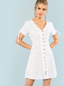 Polka Dot Drawstring Sleeve Button Up Dress