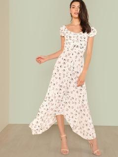 Drawstring Front Bardot Floral Maxi Dress