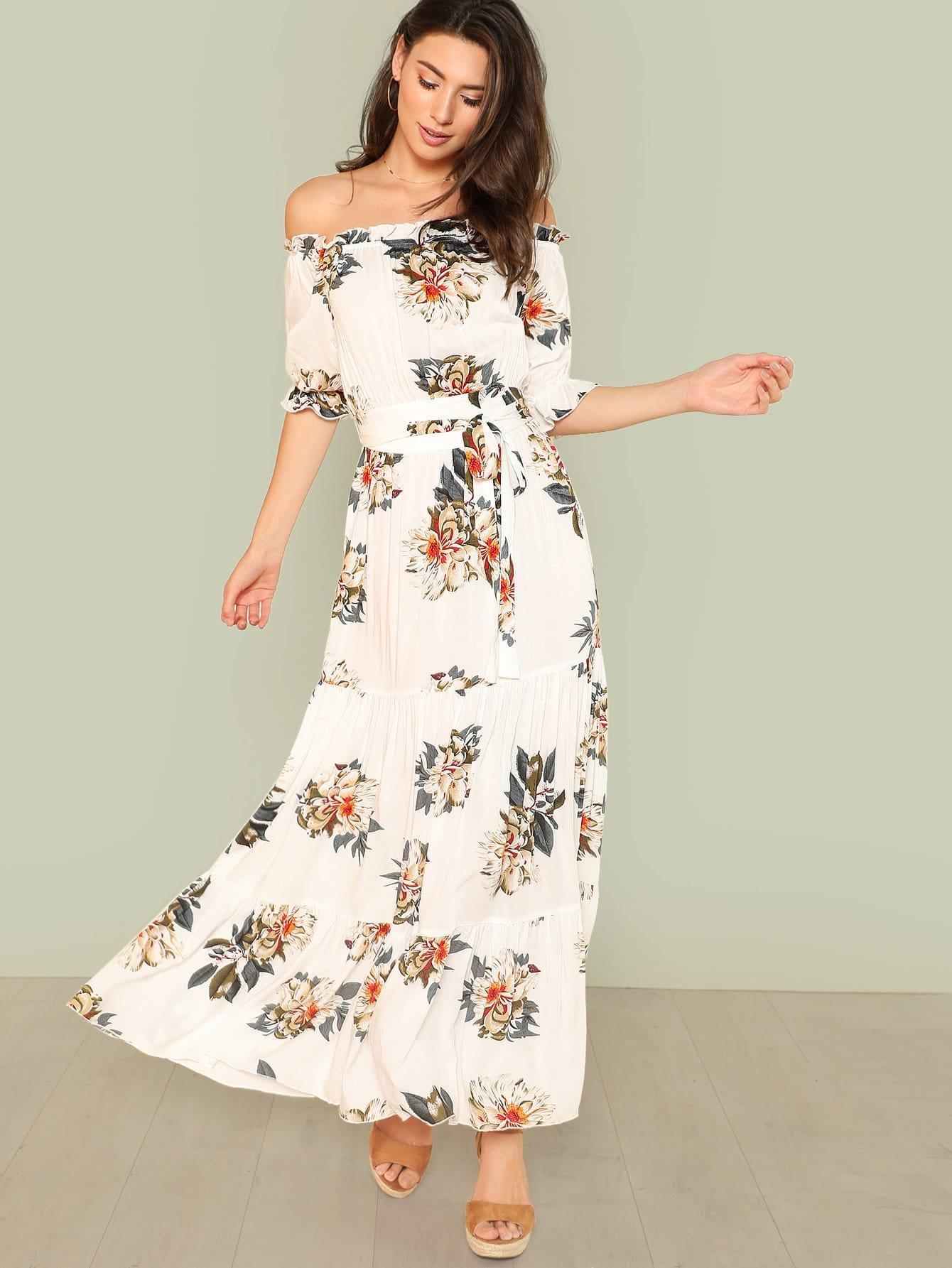 Купить Платье макси с открытыми плечами, Zandria Theis, SheIn