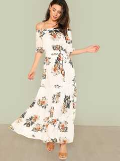 Off Shoulder Fit & Flare Maxi Dress