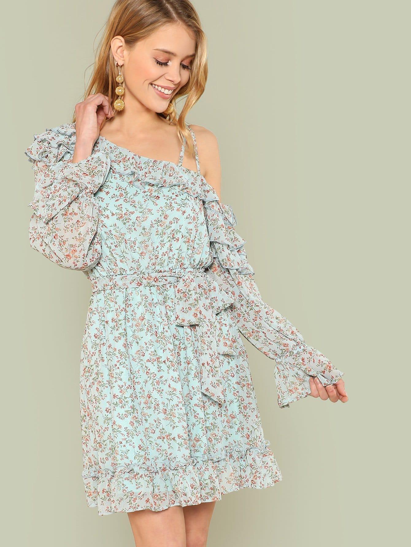 Купить Платье с оборками и принтом, Allie Leggett, SheIn