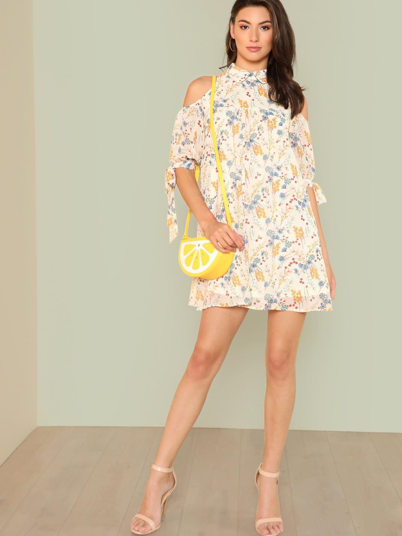 Купить Платье с принтом микс и открытыми плечами, Zandria Theis, SheIn
