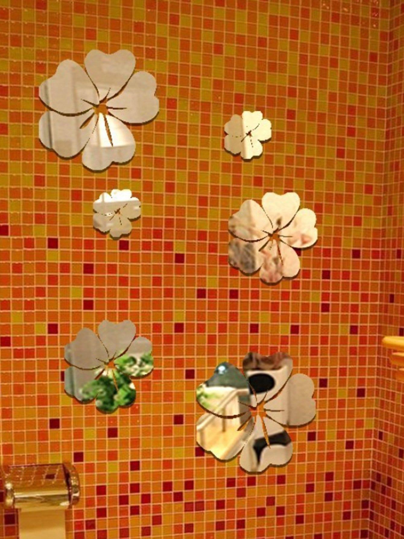 Flower Mirror Wall Sticker Set 5pcs все цены