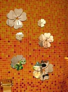 Flower Mirror Wall Sticker Set 5pcs