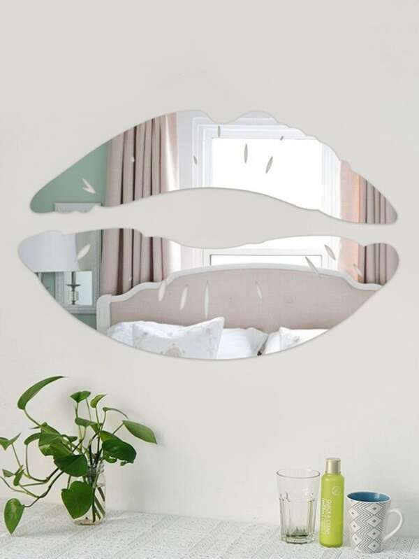 Lip Shape Mirror Wall Sticker 2pcs by Sheinside