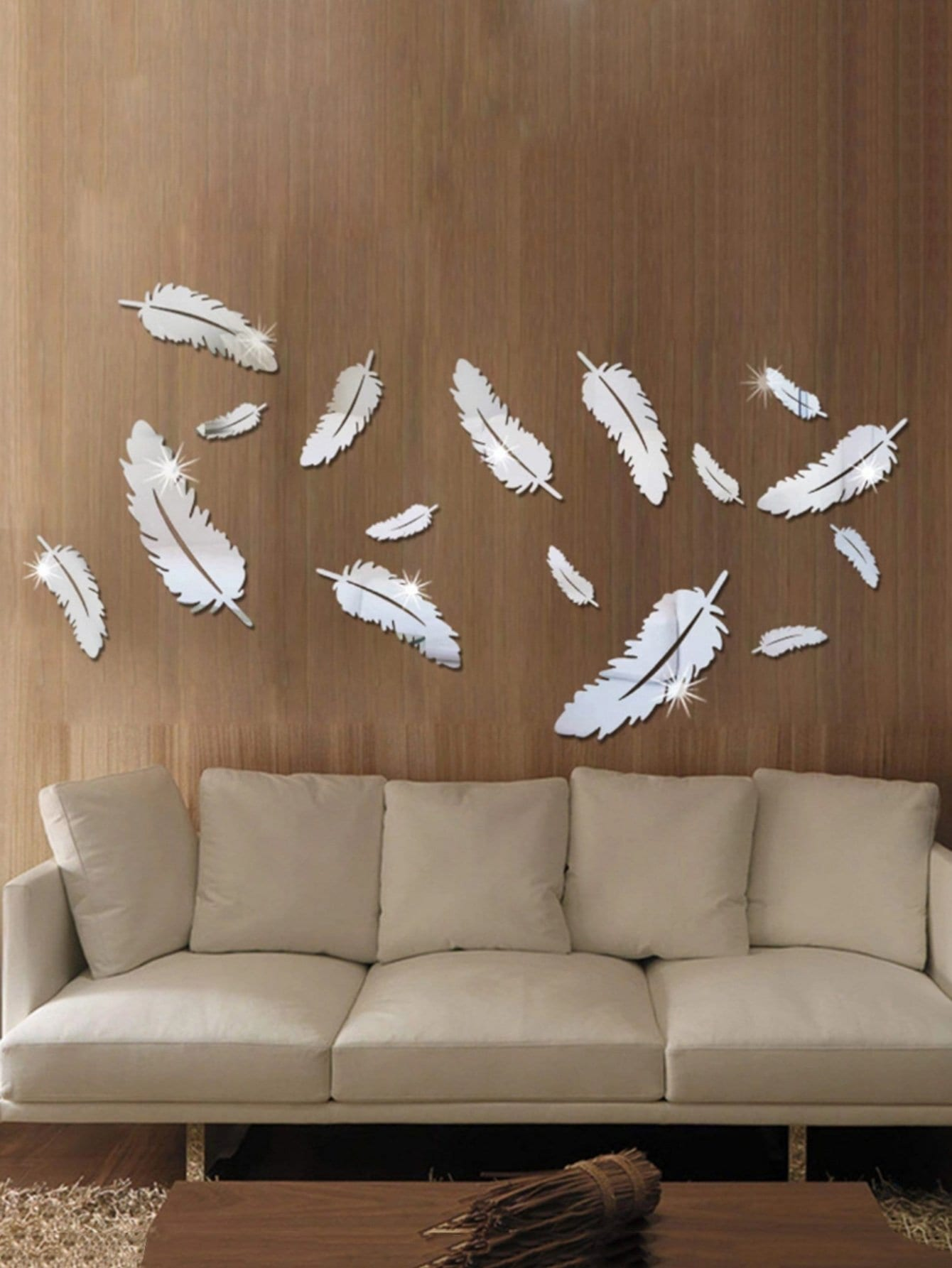 Feather Mirror Wall Sticker Set 8pcs oversized feather door sticker