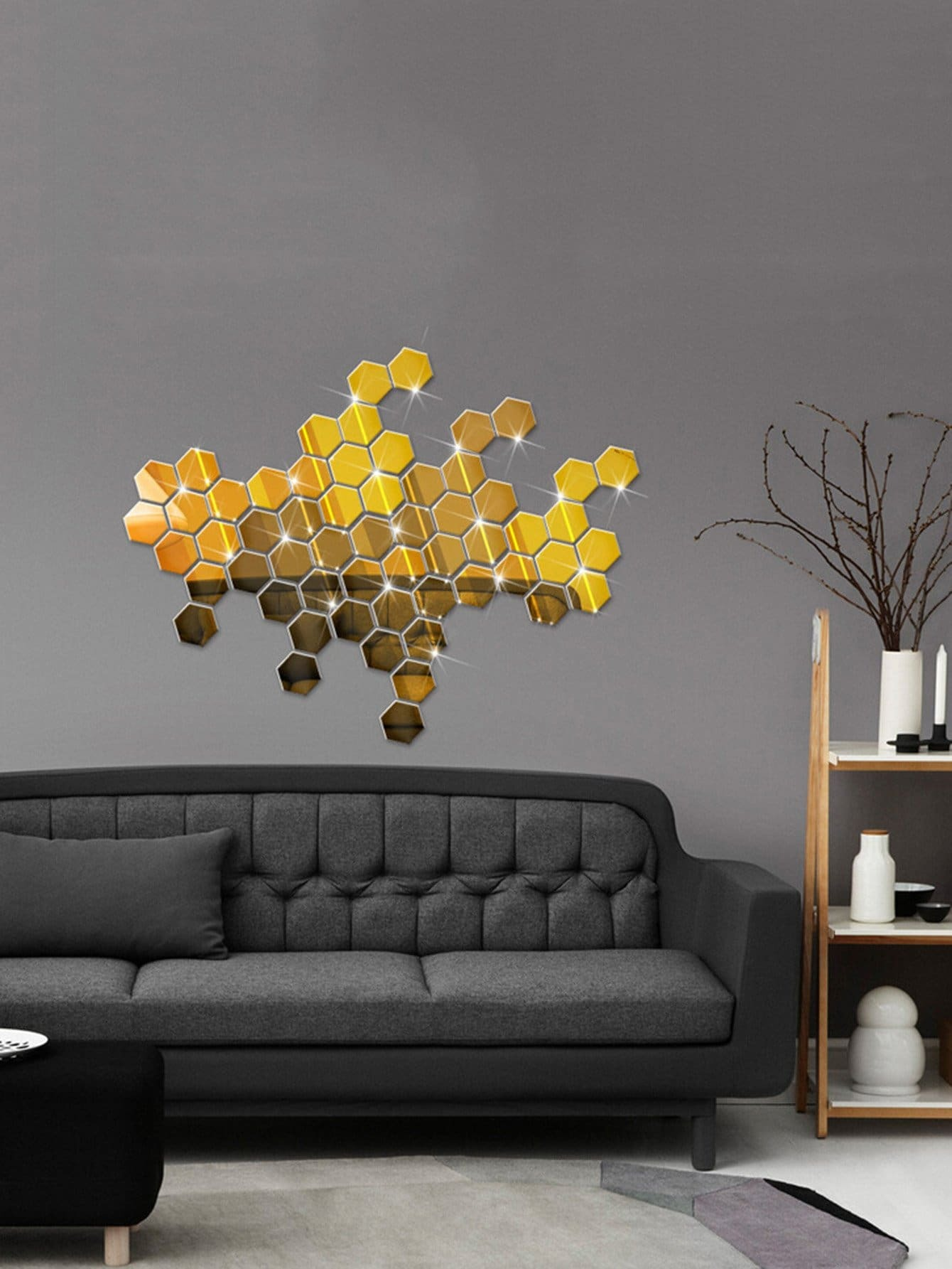 Hexagon Mirror Wall Sticker Set mayer boch 143 092 дворники пластик 2шт 18
