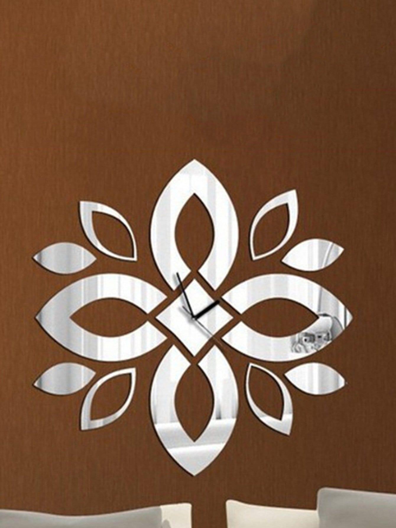 Flower Shape Clock Mirror Wall Sticker 13pcs все цены