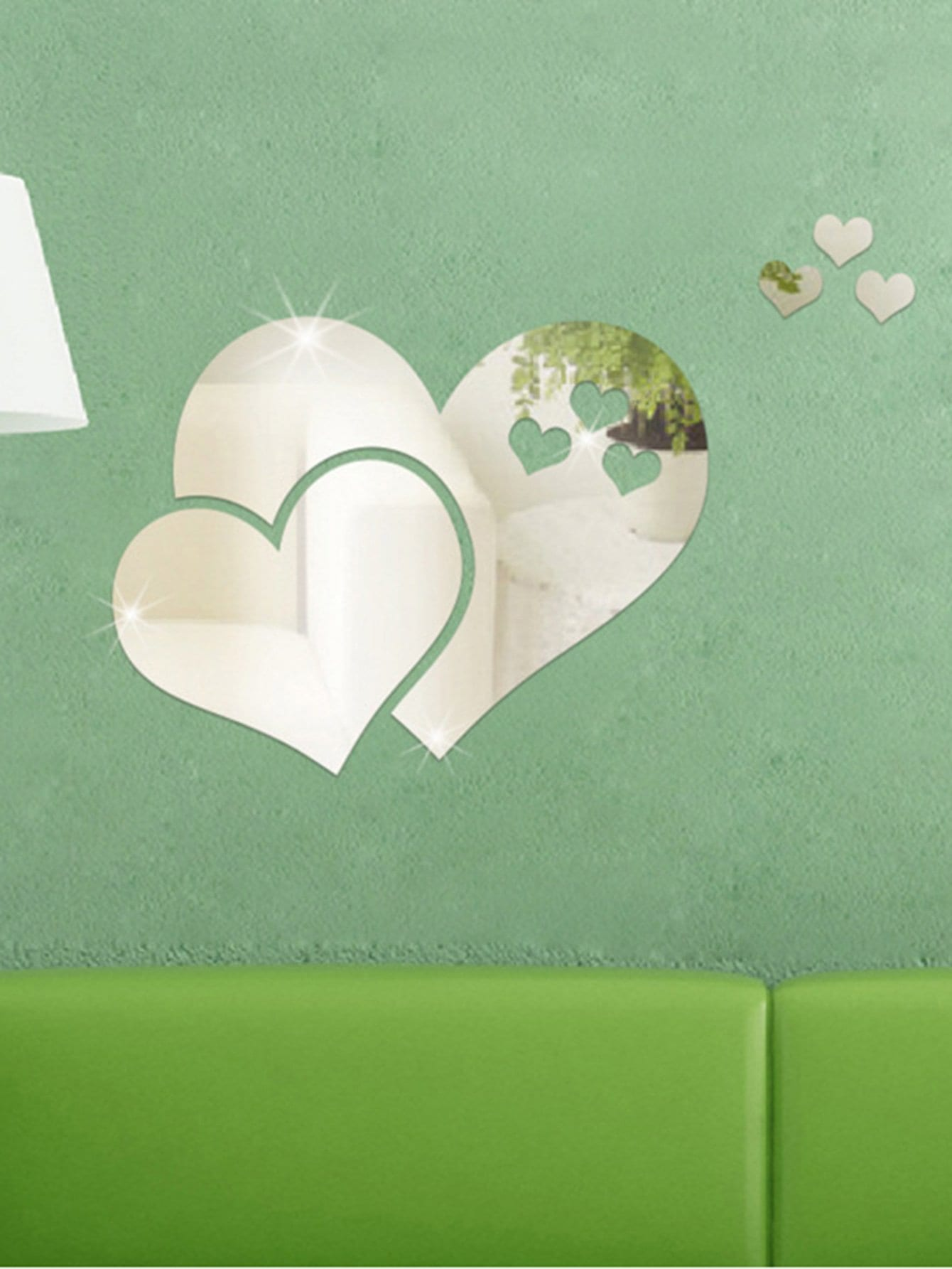 Heart Mirror Wall Sticker Set 5pcs 5pcs set 8