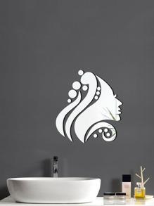 Face Shape Mirror Wall Sticker 16pcs