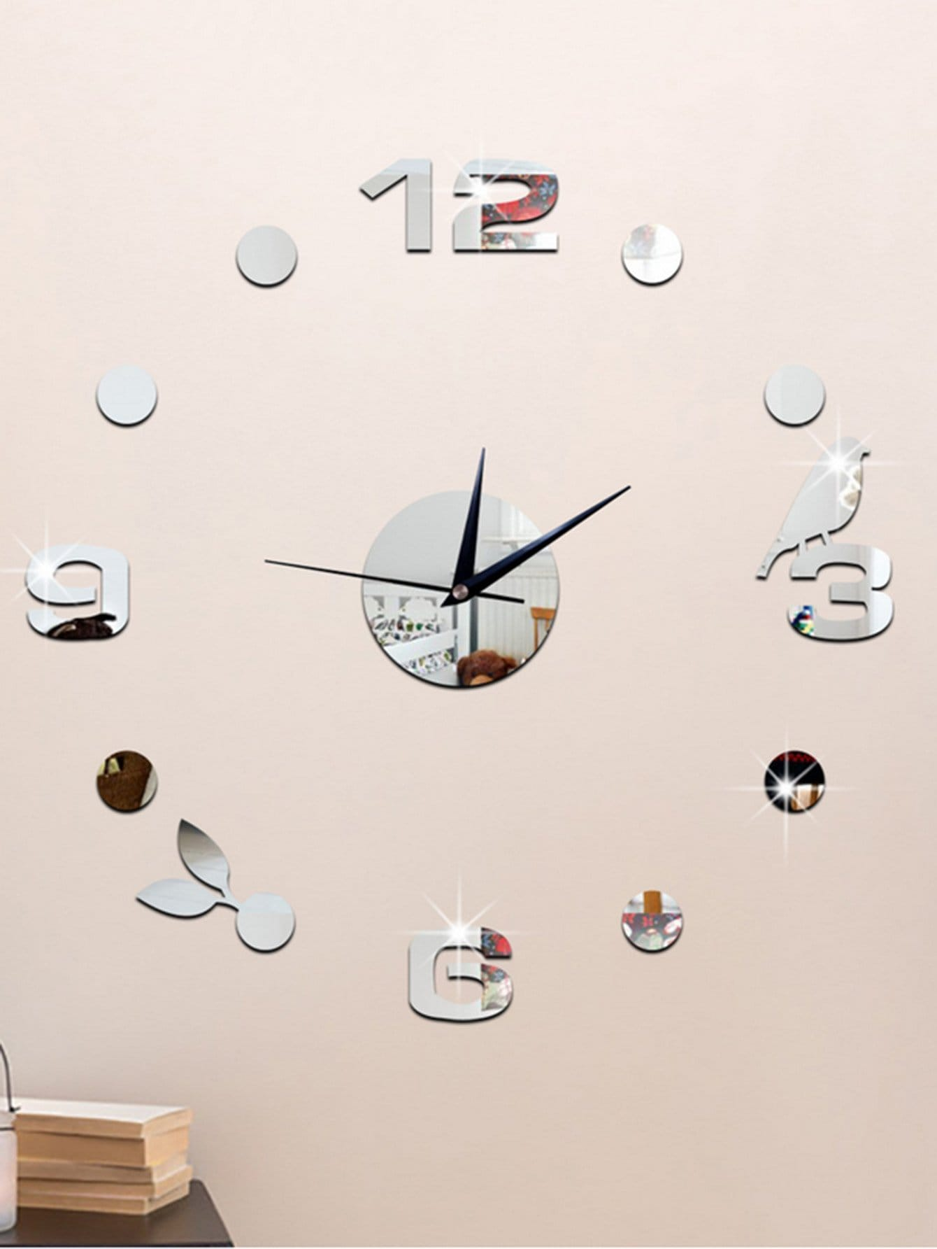 Bird Detail Clock Mirror Wall Sticker 14pcs waterdrop decorated clock mirror wall sticker
