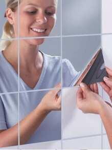 Simple Square Mirror Wall Sticker 16pcs
