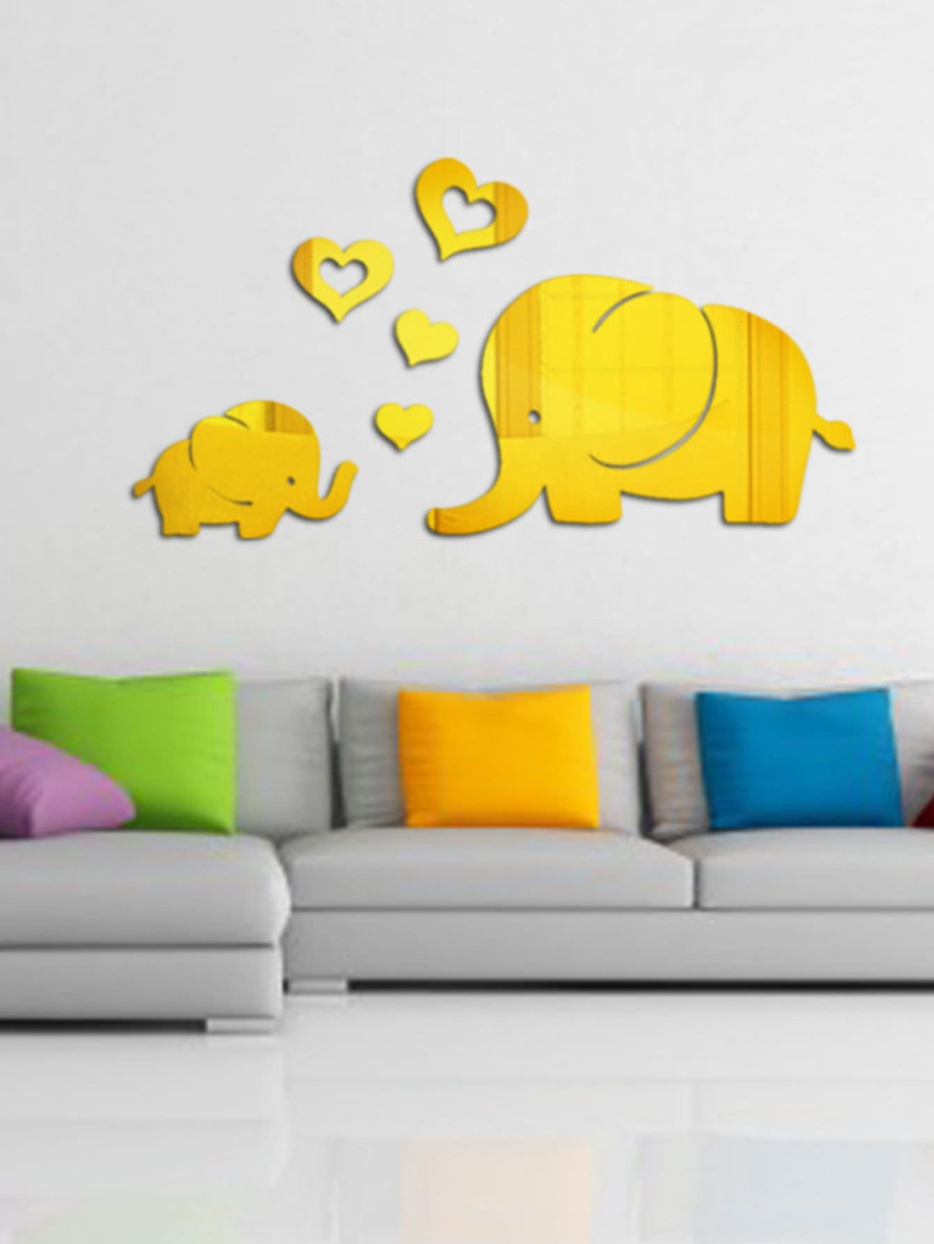 Couple Elephant Mirror Wall Sticker Set 6pcs couple cat wall sticker