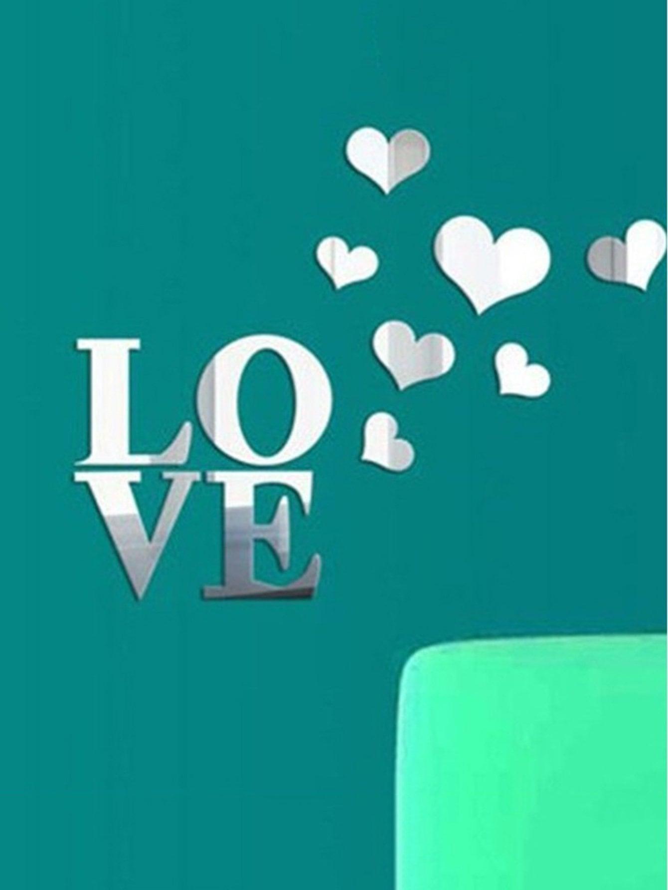 Купить Письмо и сердце зеркало стены стикер, null, SheIn