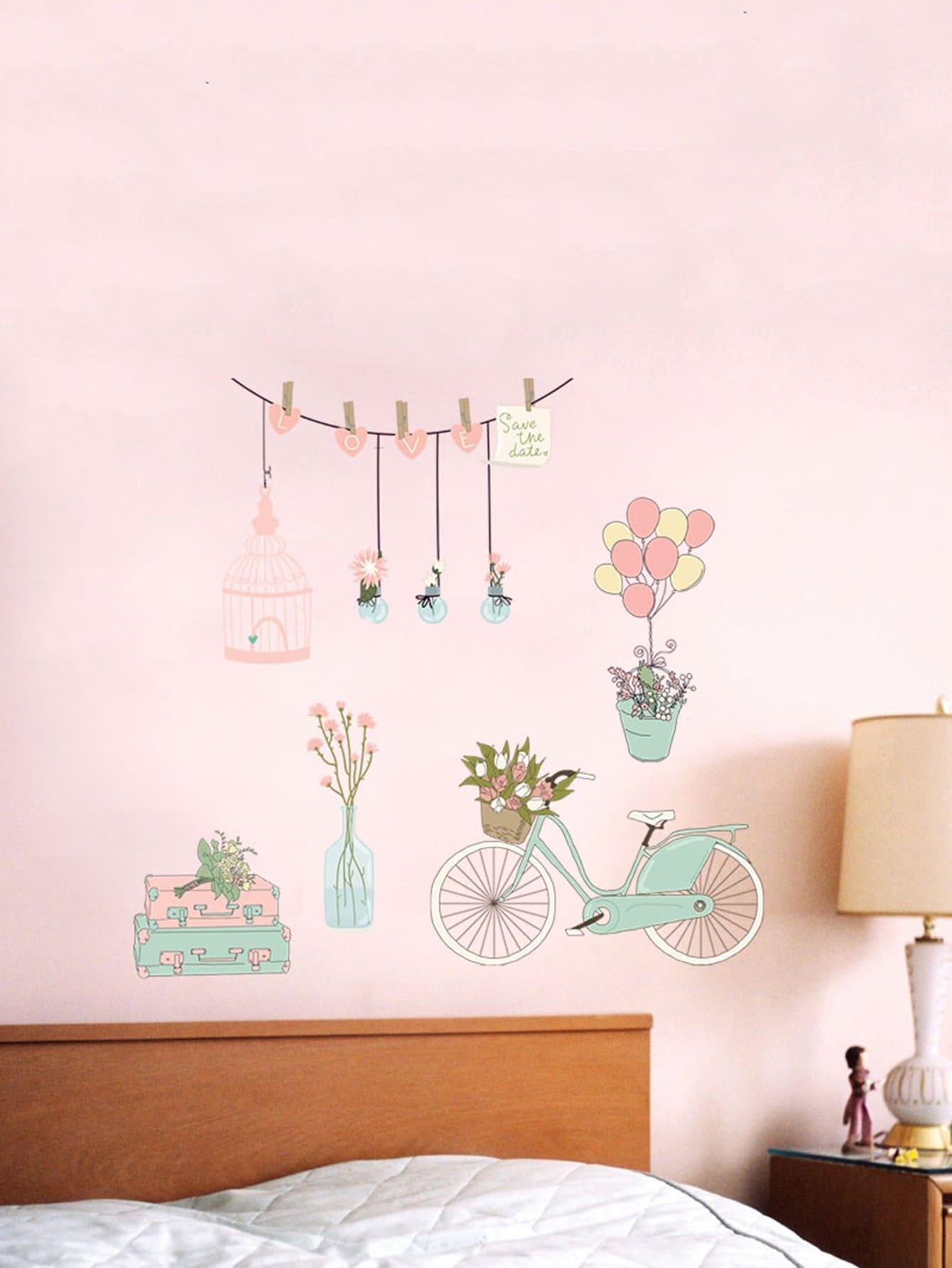 Купить 3D самоклеящиеся цветочные & велосипед стены стикер, null, SheIn