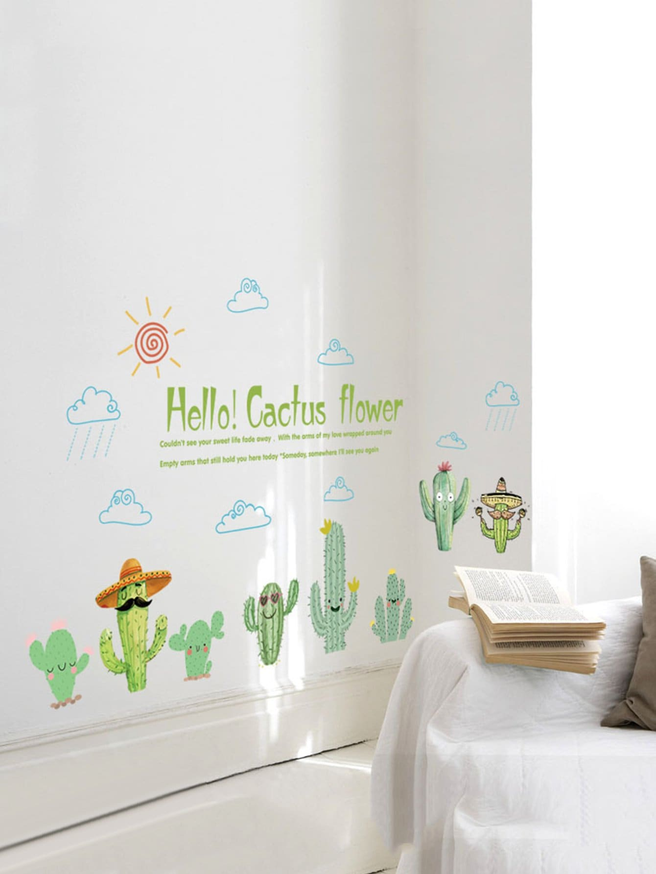Фото Cactus Pattern Wall Decal family wall quote removable wall stickers home decal art mural