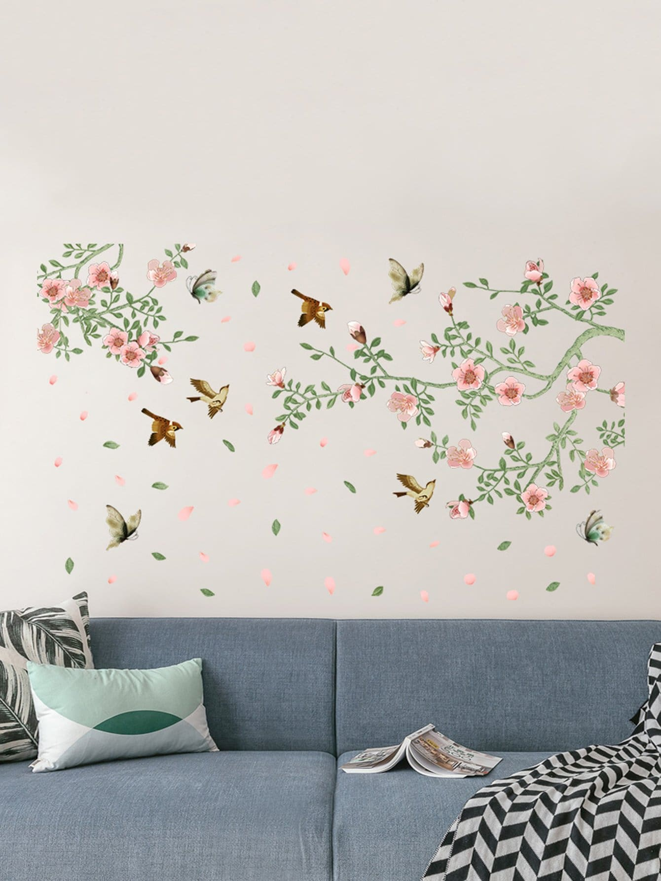 Floral & Birds Pattern Wall Decal floral girl wall decal