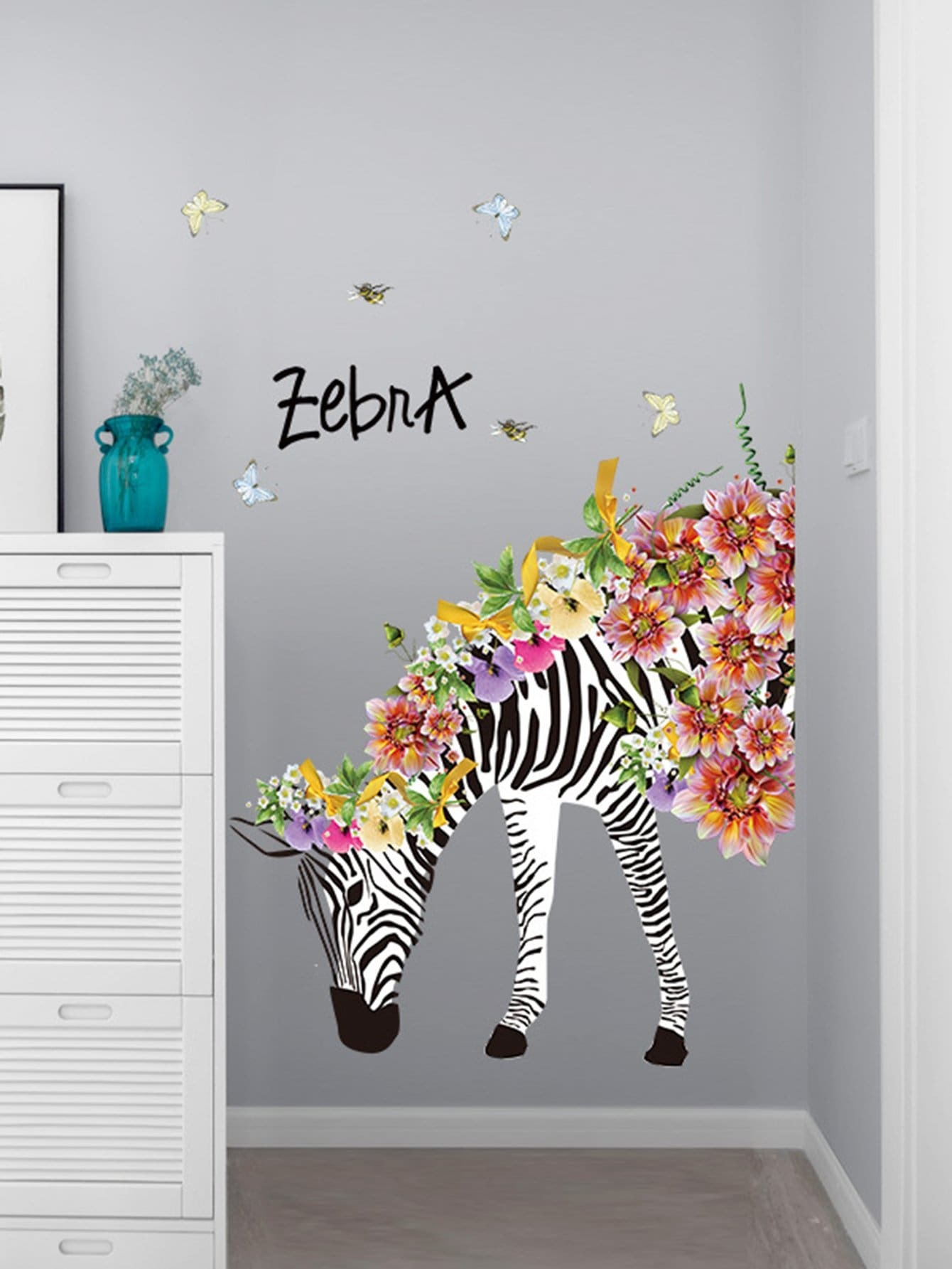 Removable Floral & Zebra Wall Art Sticker home decoration removable quote wall art sticker