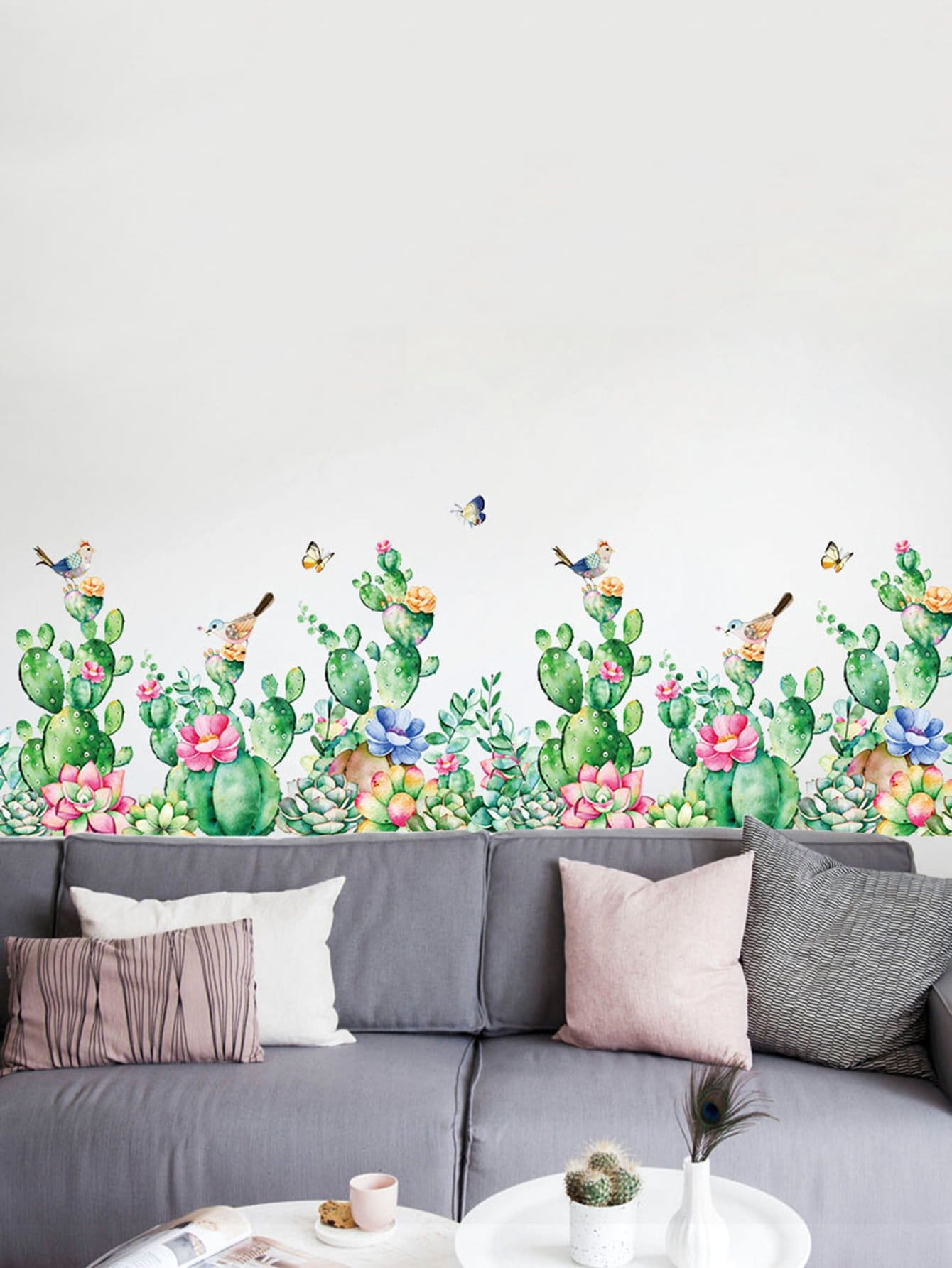 Cactus and Green Plant Wall Decal cactus wall decal