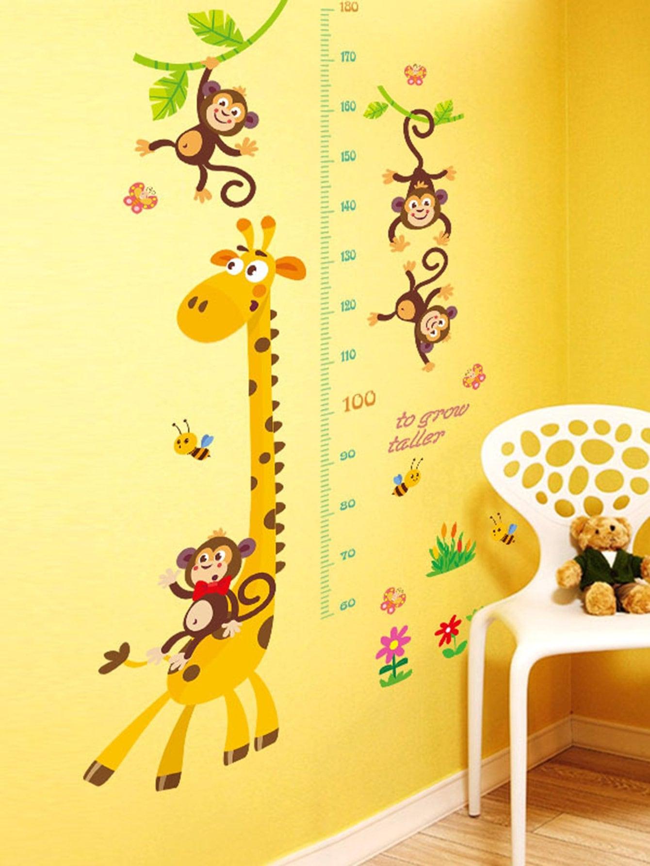Giraffe Monkey Height Measure Wall Sticker room decor cartoon height measure tree wall sticker