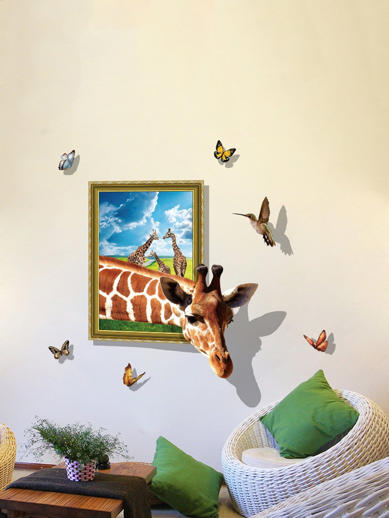 3D Giraffe Removable PVC Wall Sticker vinyl removable 3d love broken wall sticker