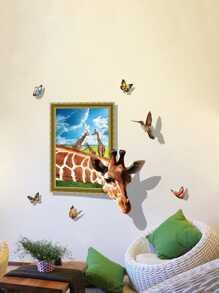 3D Giraffe Removable PVC Wall Sticker