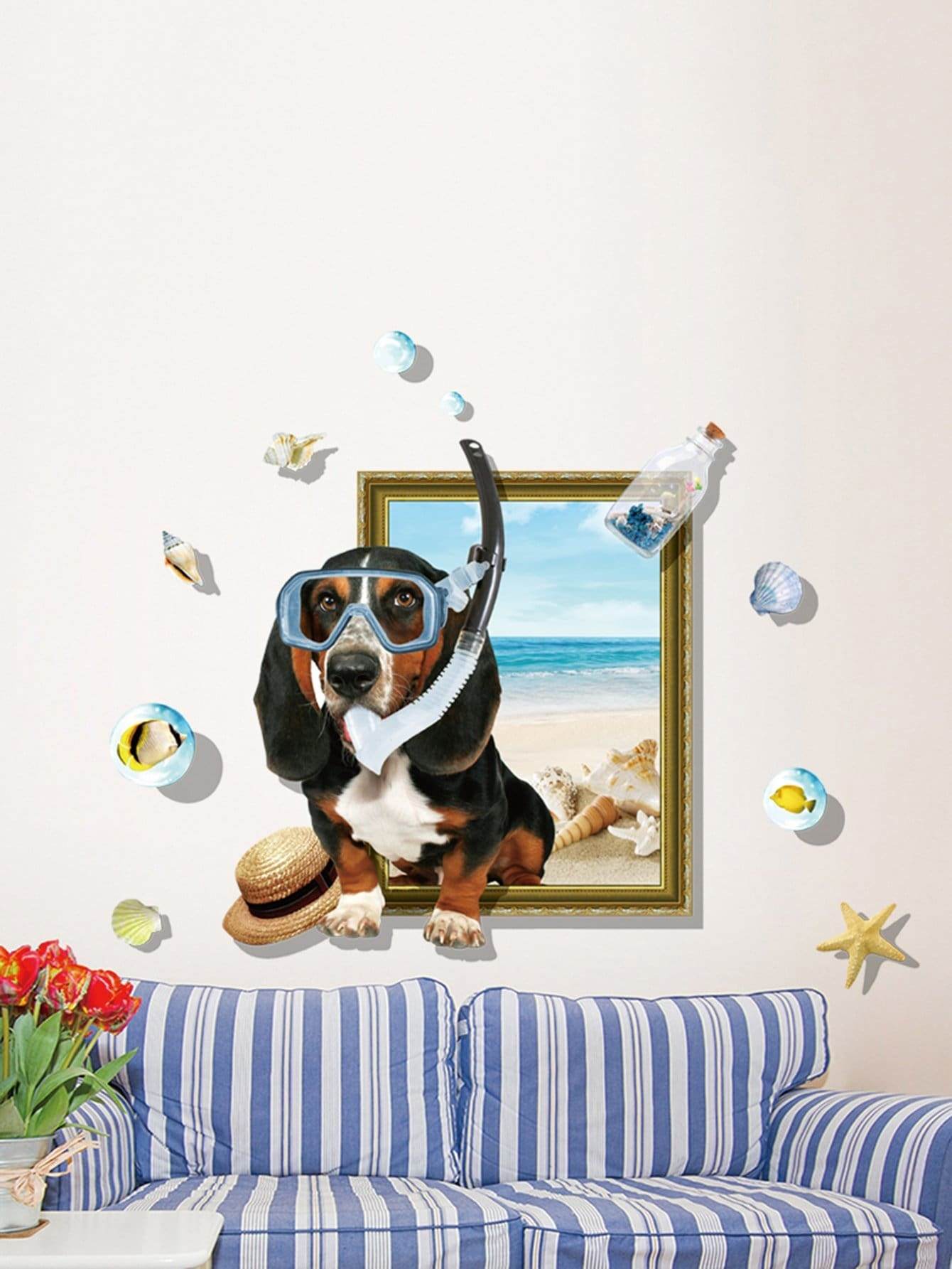 3D Dog Removable PVC Wall Sticker 3d blooming rose interior removable wall sticker