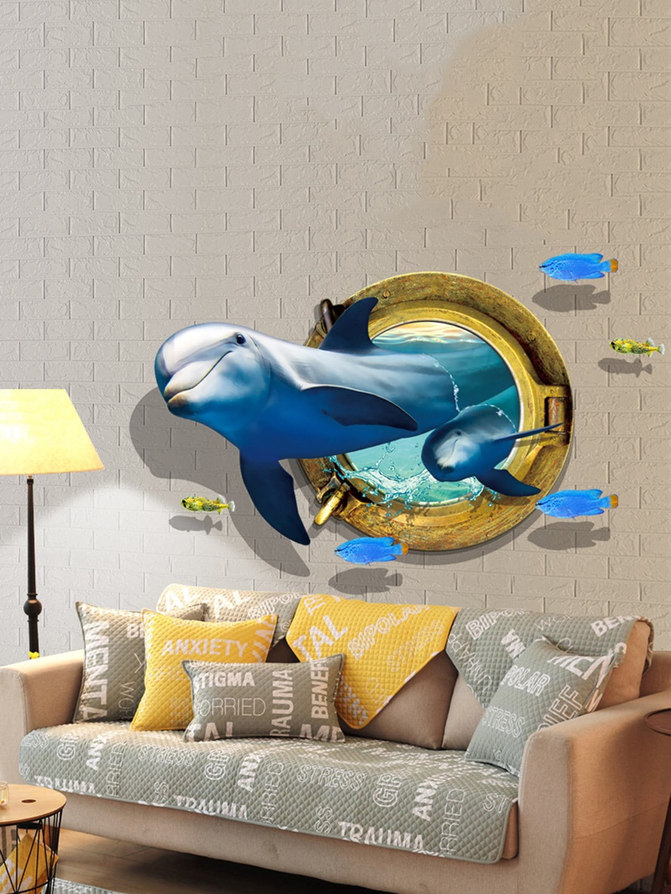 Купить 3D - море кита стены стикер, null, SheIn